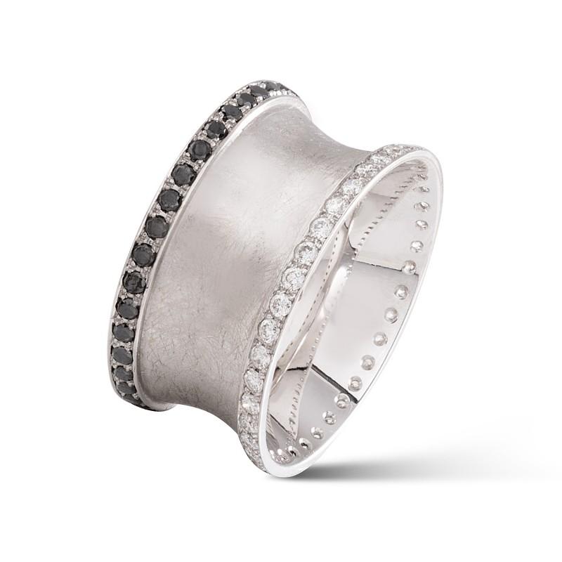 Anillo ancho oro blanco y diamantes