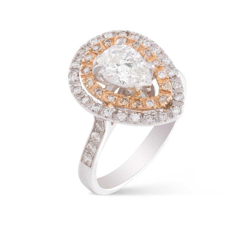 Anillo Diamante Pera con brilantes
